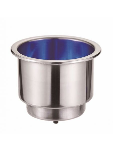 Стаканодержатель нержавейка с LED подсветкой синяя ААА 54099-02BU