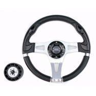 Руль PRETECH HD-5181 330мм, PU, спицы серебро, черный