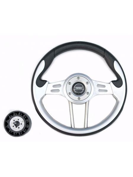 Руль PRETECH HD-5166G 330мм, PU, спицы серебро, серый