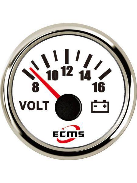 Вольтметр ECMS CMV2-WS-8-16 52мм белый (Серия Эконом)