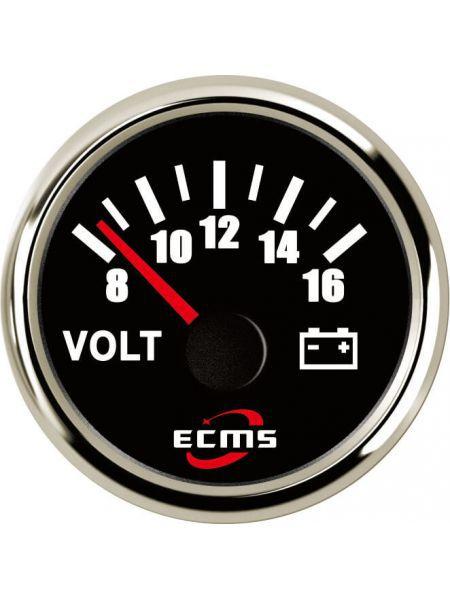 Вольтметр ECMS CMV2-BS-8-16 52мм черный (Серия Эконом)